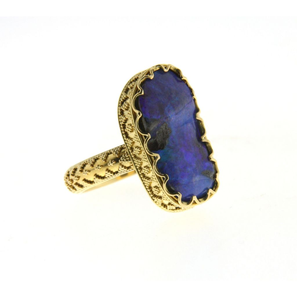 138-349 - SoHo Boutique 22K Gold 8.25ctw Irregular Blue Opal Ring - Size 6.5