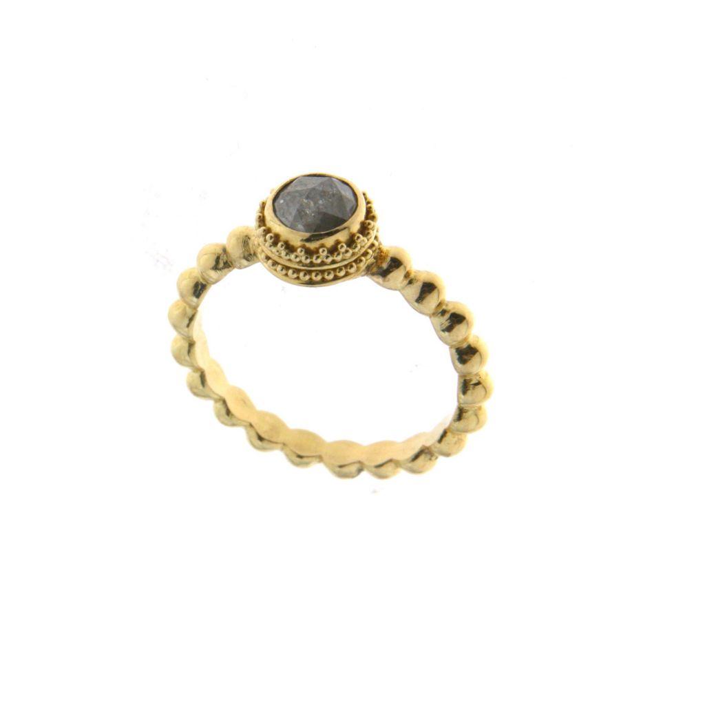 138-353 - SoHo Boutique 22K Gold 0.80ctw Black Diamond Ring - Size 7