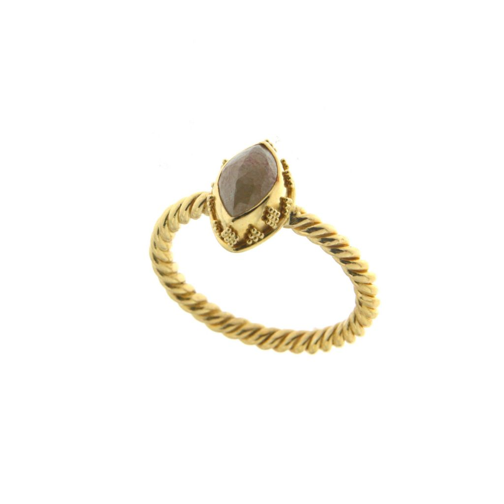 138-355 - SoHo Boutique 22K Gold 1.65ctw Marquise Cut Brown Diamond Ring - Size 7