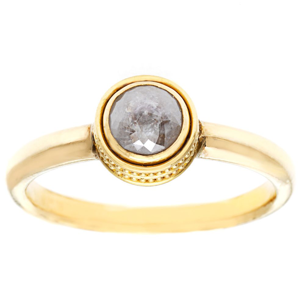 138-356 - SoHo Boutique 22K Gold 0.80ctw Grey Diamond Ring - Size 7.25