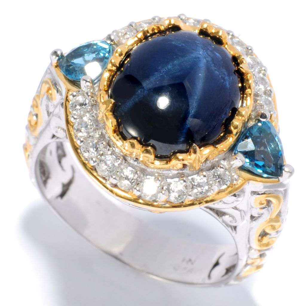 138-359 - Gems en Vogue 11 x 9mm Star Sapphire, London Blue Topaz & White Zircon Ring