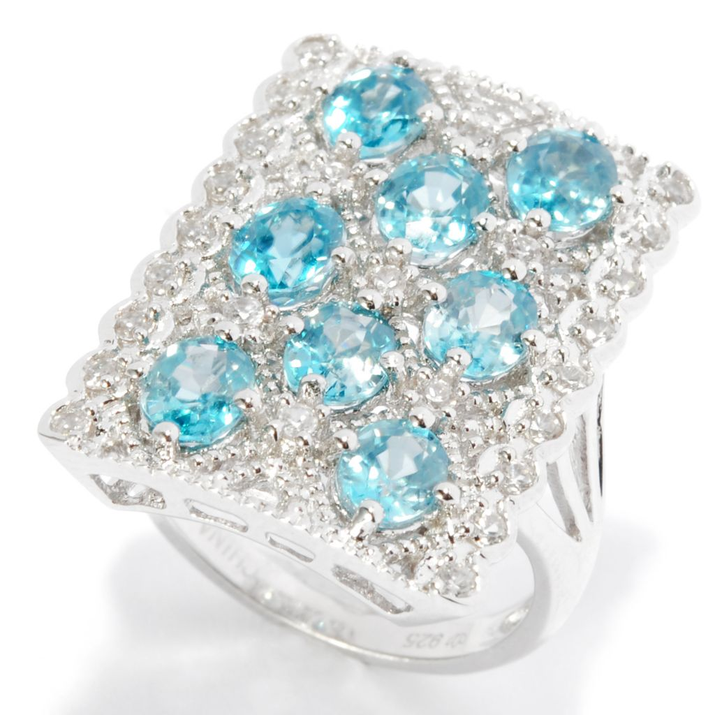 138-360 - NYC II 5.59ctw Blue & White Zircon Elongated Rectangle Ring