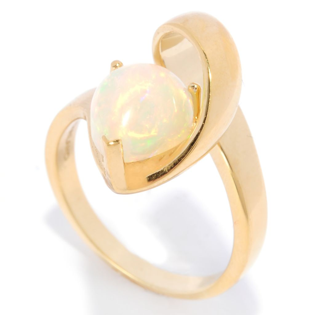 138-363 - Gem Insider 14K Gold 10 x 8mm Pear Shaped Opal Twisted Band Ring