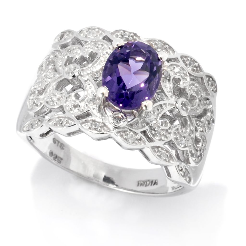 138-367 - NYC II 1.13ctw Oval Blueberry Quartz & White Zircon Wide Band Ring