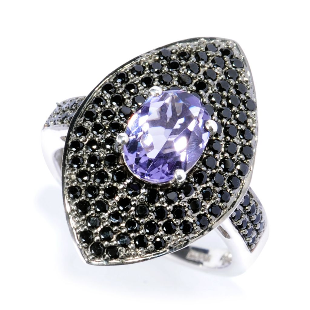 138-368 - NYC II1.72ctw Blueberry Quartz & Black Spinel Marquise Shaped Ring
