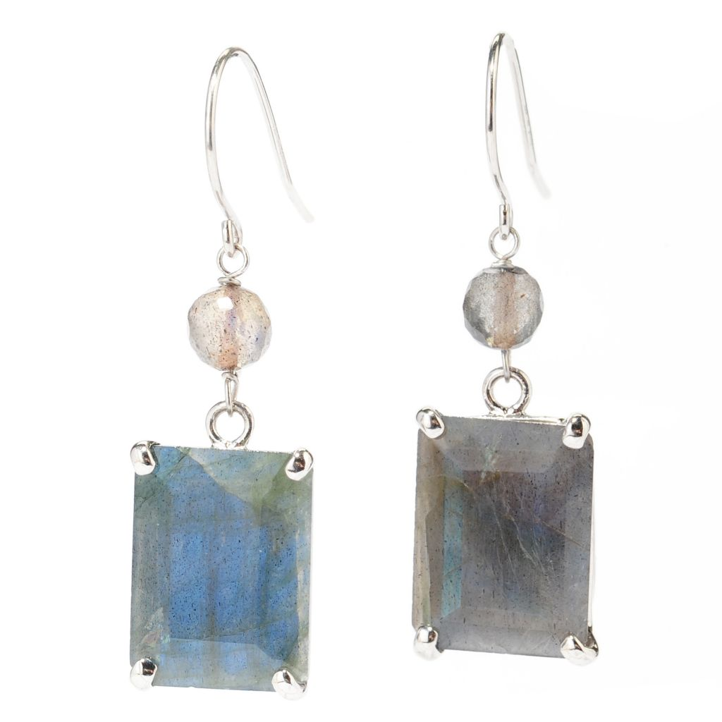 "138-370 - Gem Insider Sterling Silver 1.25"" 16 x 12mm Labradorite Drop Earrings"