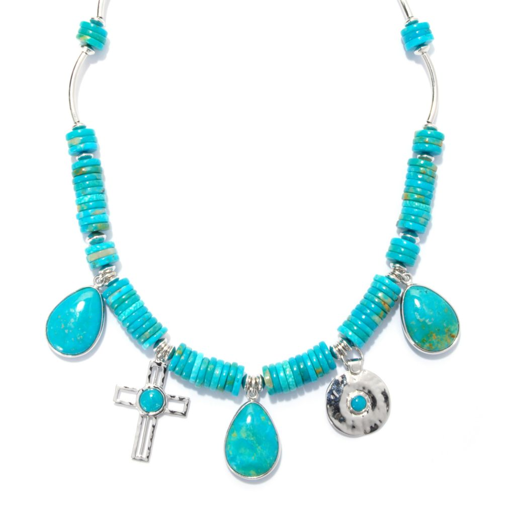 "138-373 - Gem Insider Sterling Silver 16"" Kingman Turquoise Beaded Station Necklace"
