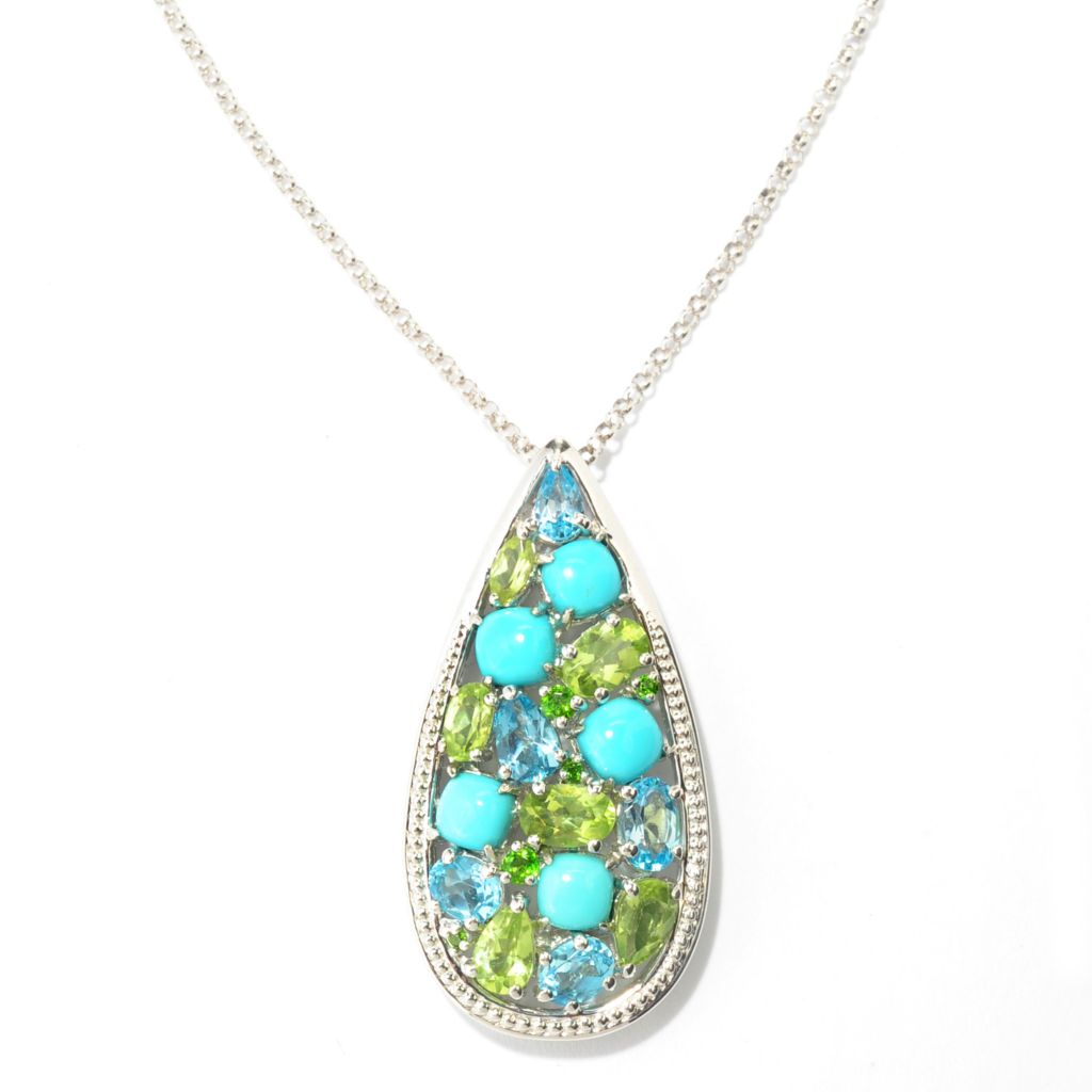 138-383 - Gem Insider Sterling Silver Sleeping Beauty Turquoise & Multi Gemstone Pendant