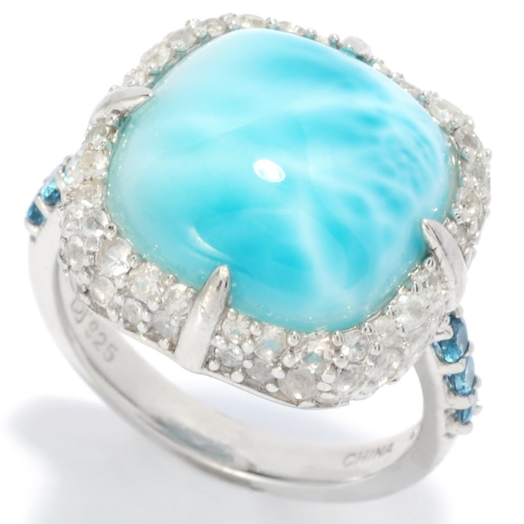 138-384 - Gem Insider Sterling Silver 13mm Larimar & Multi Gemstone Halo Ring