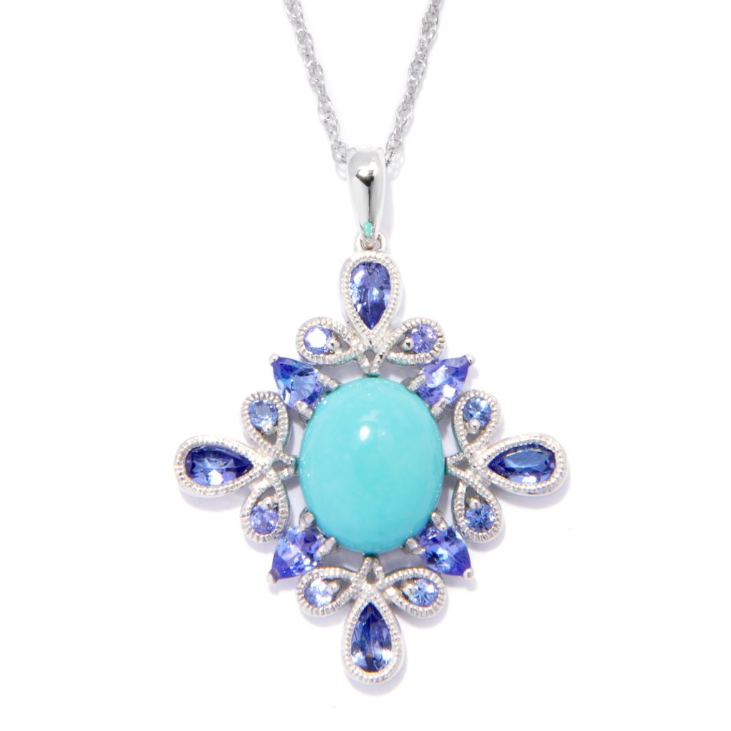 138-385 - Gem Insider Sterling Silver 12 x 10mm Sleeping Beauty Turquoise & Tanzanite Pendant