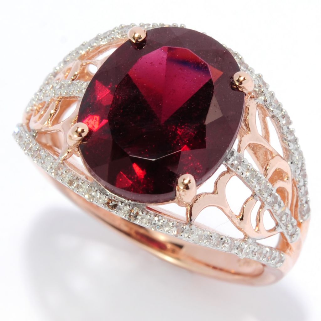 138-388 - Gem Insider 14K Rose Gold 4.22ctw Brazilian Garnet & Diamond Scrollwork Ring