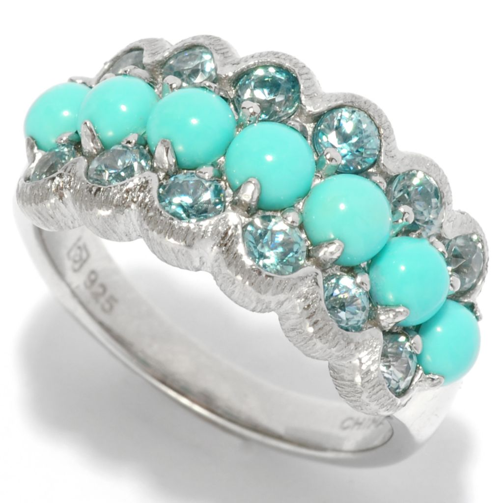 138-390 - Gem Insider Sterling Silver Sleeping Beauty Turquoise & Blue Zircon Ring