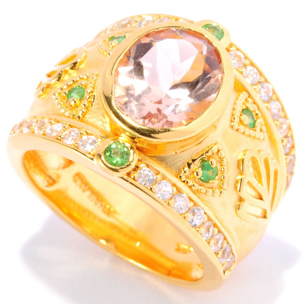 138-391 - NYC II 3.06ctw Oval Morganite, Tsavorite & White Zircon Wide Band Ring