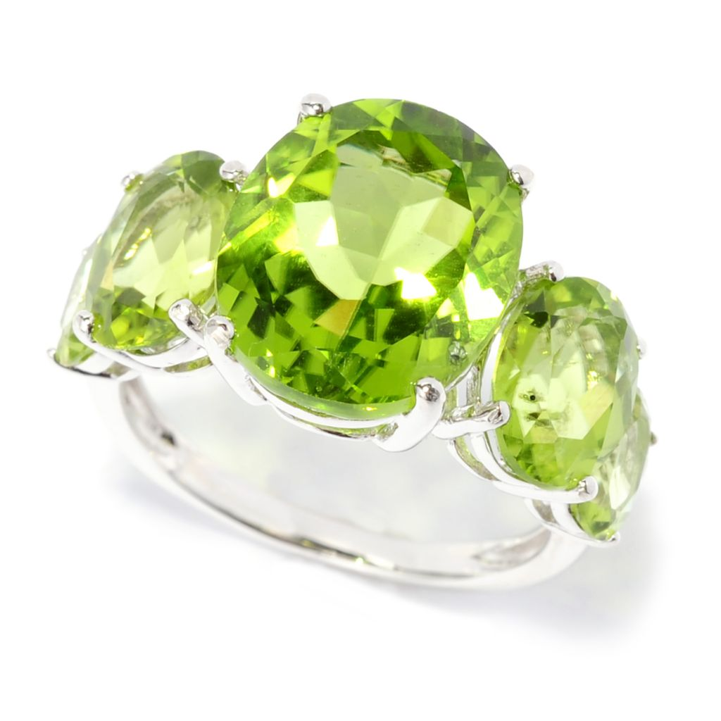138-392 - Gem Insider Sterling Silver 7.16ctw Peridot Graduated Five-Stone Ring