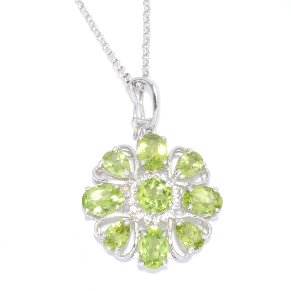 138-393 - Gem Insider Sterling Silver 5.65ctw Peridot & White Topaz Floral Enhancer w/ Chain
