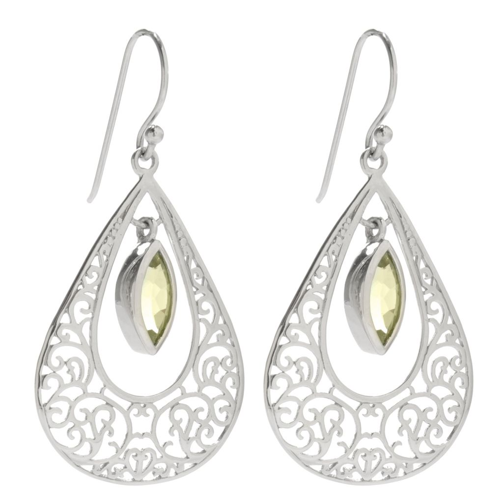 "138-394 - Gem Insider Sterling Silver 1.75"" 1.86ctw Peridot Openwork Dangle Earrings"