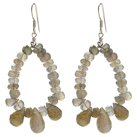138-396 - Gem Insider Sterling Silver 2.5'' 14 x 7mm Labradorite Oval Drop Earrings