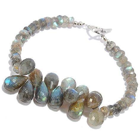 138-397 - Gem Insider™ Sterling Silver 7.5'' 12 x 8mm Labradorite Cluster Bracelet
