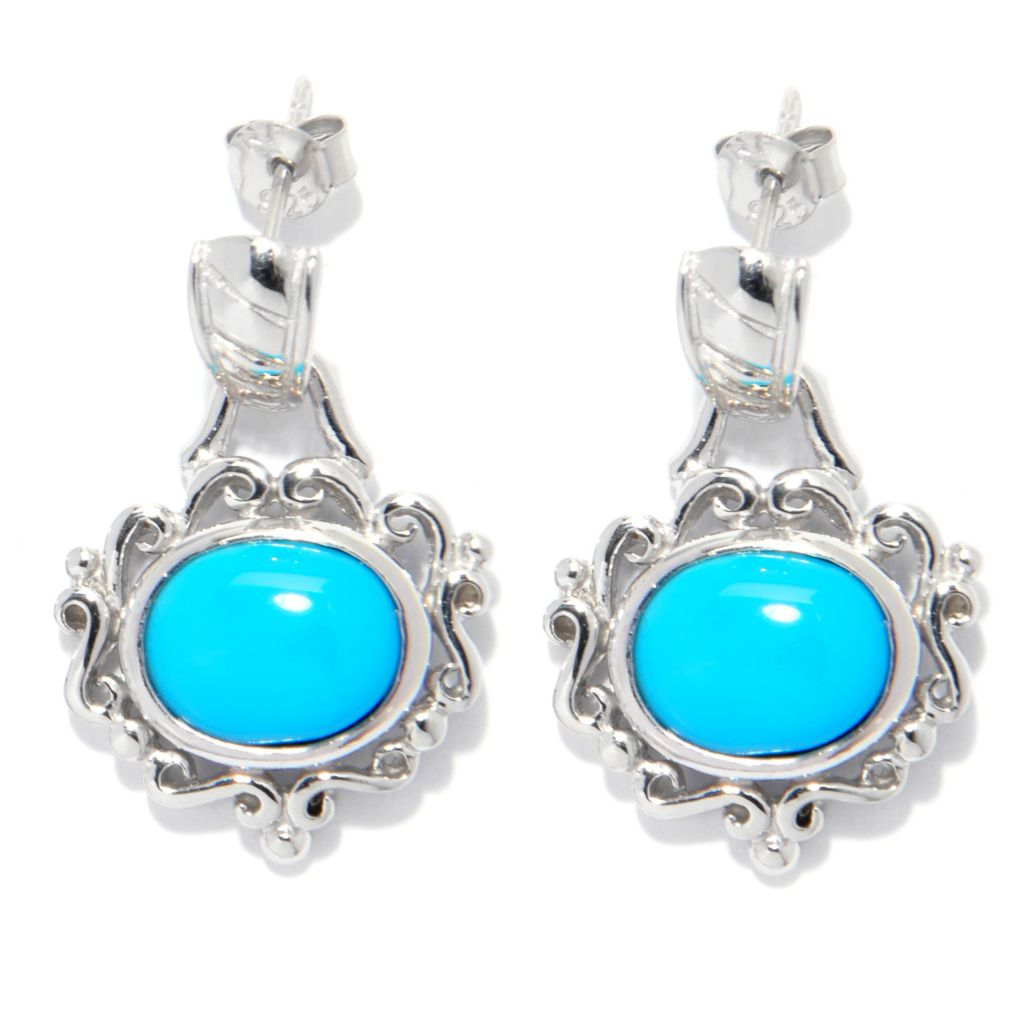 "138-398 - Gem Insider Sterling Silver 1"" 10 x 8mm Sleeping Beauty Turquoise Scroll Earrings"