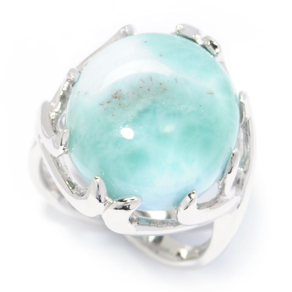 138-400 - Gem Insider Sterling Silver 15 x 14mm Oval Larimar Split Shank Ring