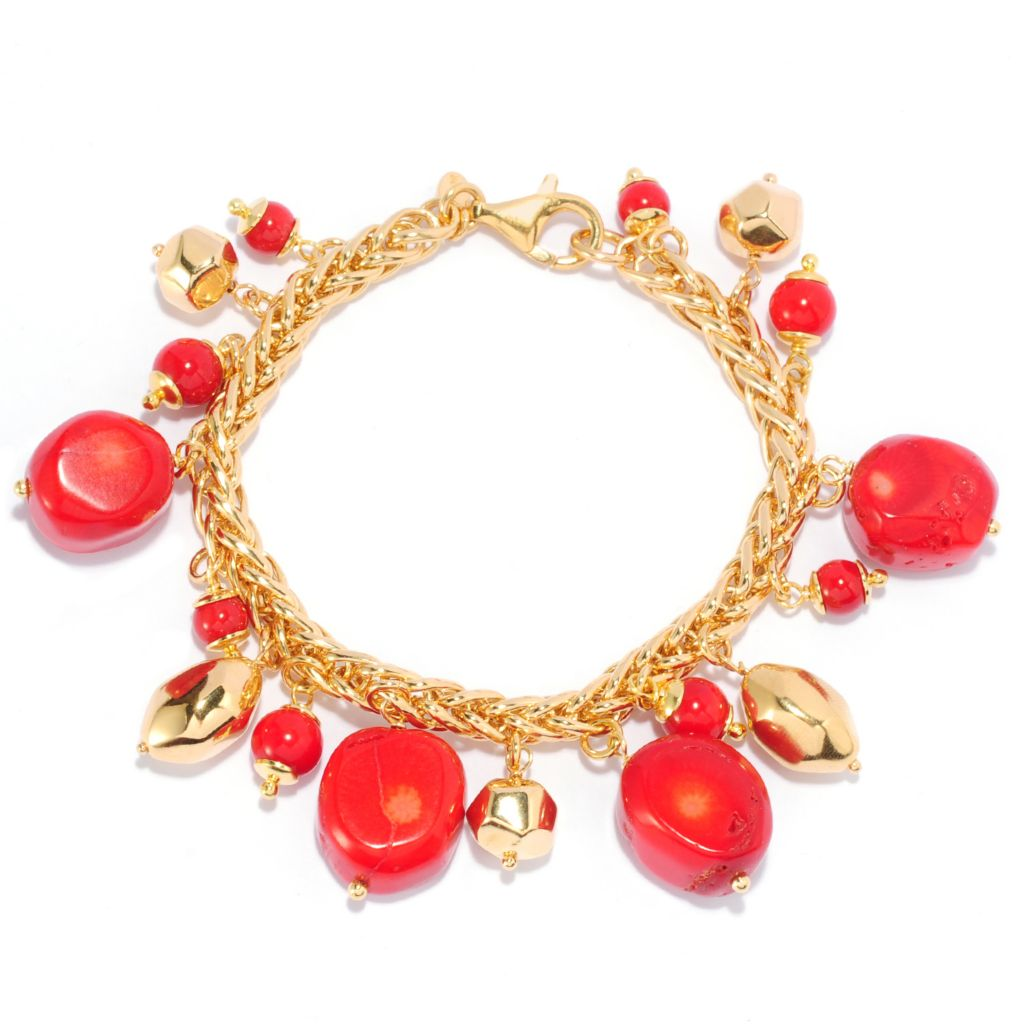 138-402 - Portofino 18K Gold Embraced™ Multi Shape Coral & Polished Bead Charm Bracelet