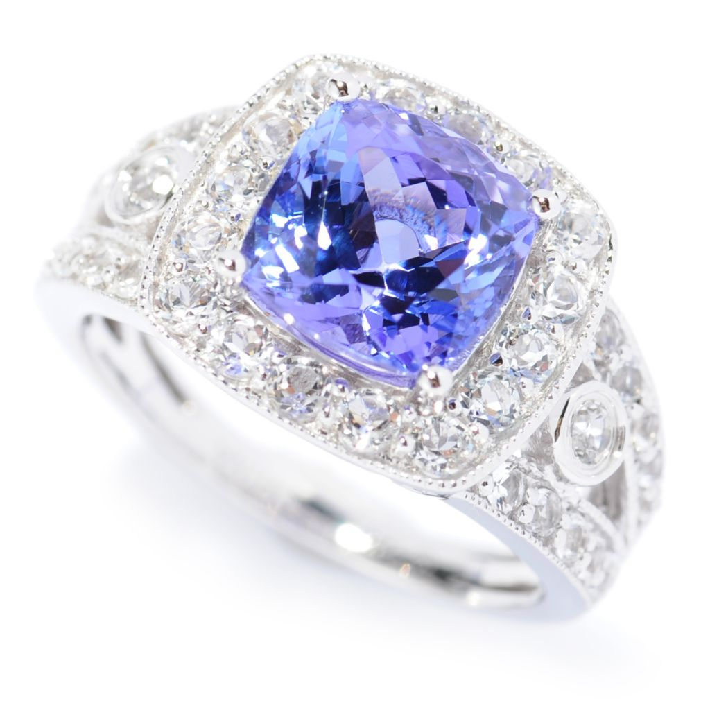 138-406 - Gem Treasures 14K White Gold 3.84ctw Tanzanite & White Topaz Halo Ring