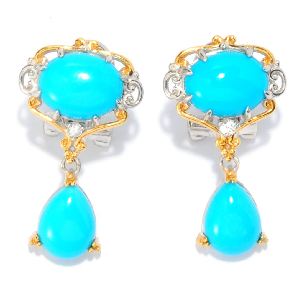 138-408 - Gems en Vogue Sleeping Beauty Turquoise & White Sapphire Dangle Earrings