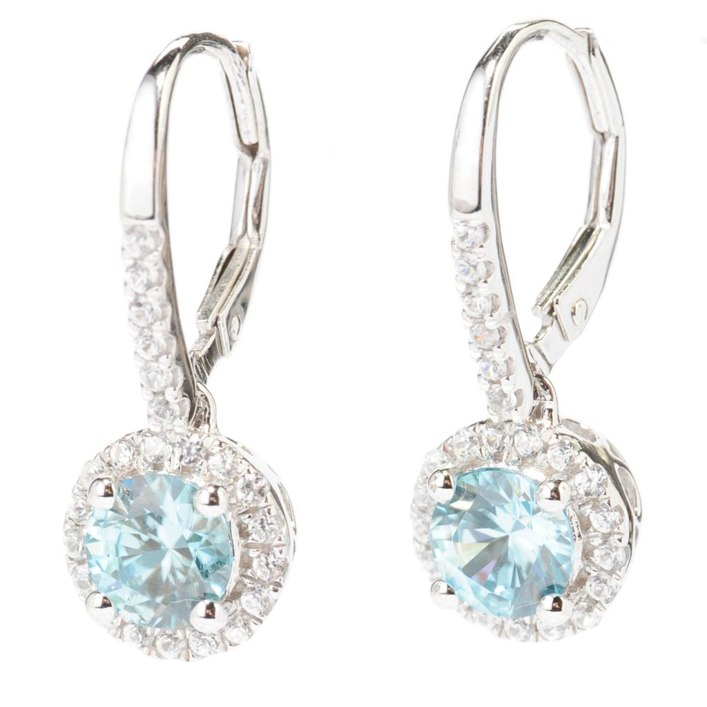 138-410 - Gem Treasures Sterling Silver 2.84ctw Blue & White Zircon Halo Drop Earrings
