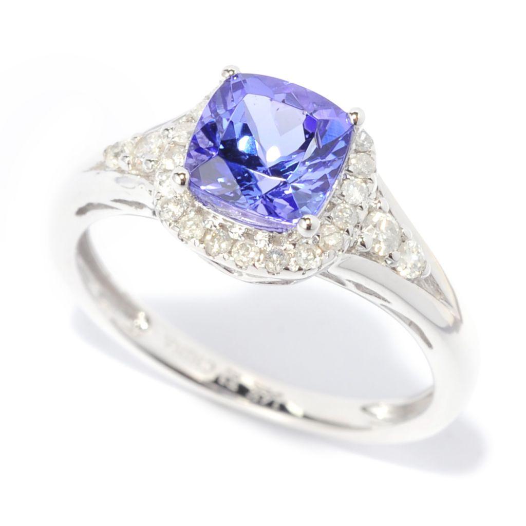 138-412 - Gem Treasures 14K White Gold 1.20ctw Cushion Cut Tanzanite & Diamond Halo Ring