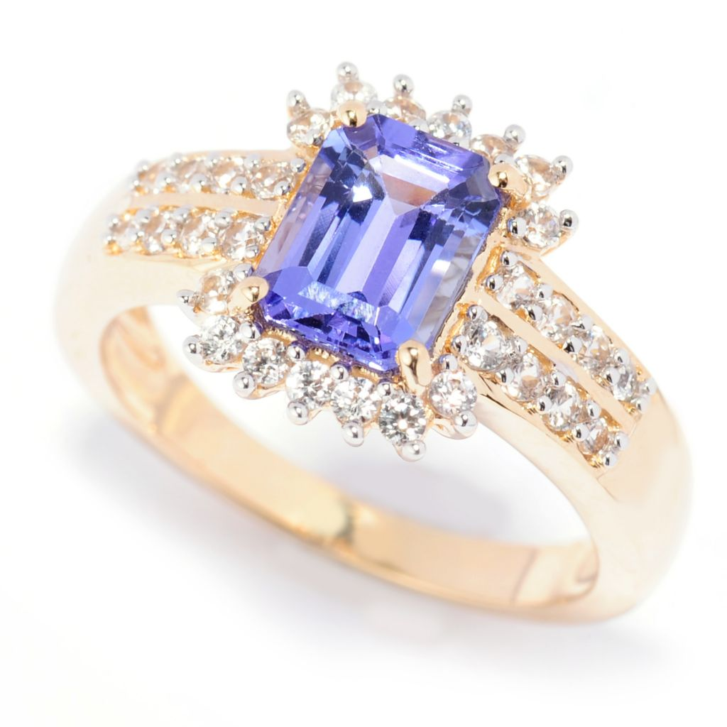 138-414 - Gem Treasures 14K Gold 1.88ctw Tanzanite & White Zircon Two-Row Ring