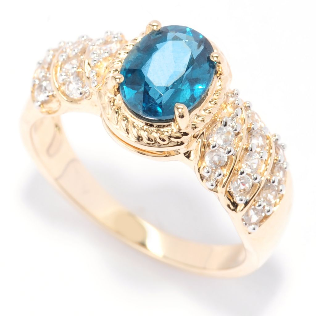138-418 - Gem Treasures 14K Gold 1.65ctw Oval Teal Kyanite & White Zircon Ring