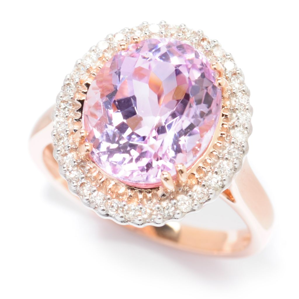 138-420 - Gem Treasures 14K Rose Gold 4.47ctw Kunzite & Diamond Halo Ring