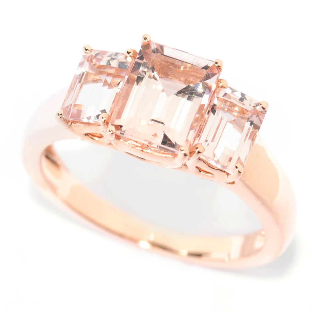 138-421 - Gem Treasures 14K Rose Gold 2.20ctw Rectangle Morganite Three-Stone Ring