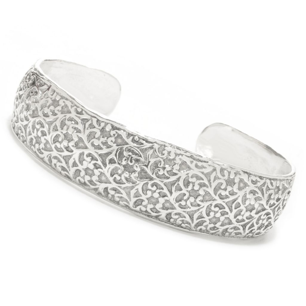 138-422 - Passage to Israel Sterling Silver Textured Cuff Bracelet, 27.14 grams