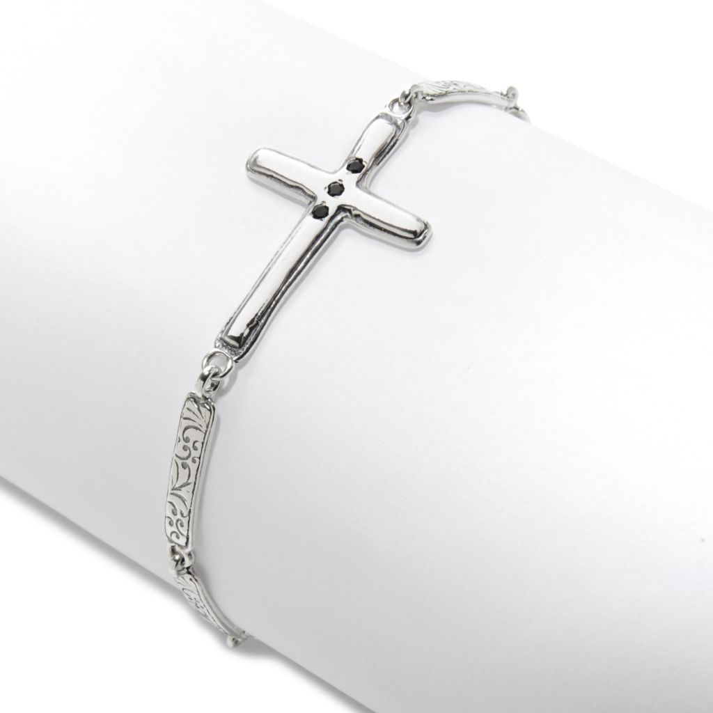 "138-424 - Passage to Israel Sterling Silver 7.25"" Gemstone Sideways Cross Toggle Bracelet"