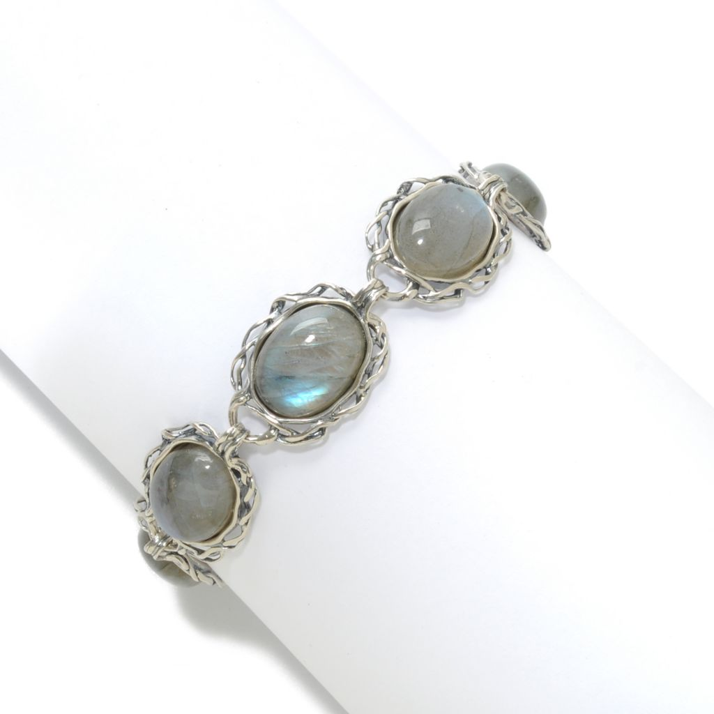 """138-425 - Passage to Israel Sterling Silver 7.5"""" 16 x 12mm Oval Gemstone Toggle Bracelet w/ Extender"""
