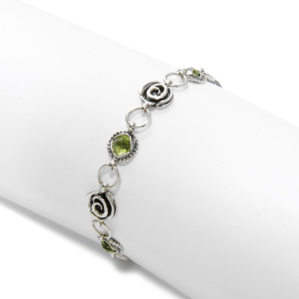"138-426 - Passage to Israel Sterling Silver 7.5"" 6mm Gemstone & Oxidized Rose Toggle Bracelet"