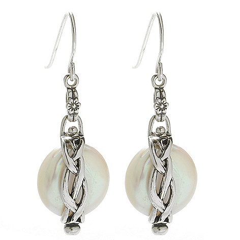 138-428 - Passage to Israel™ Sterling Silver 13-14mm Freshwater Cultured Pearl 1.5'' Drop Earrings