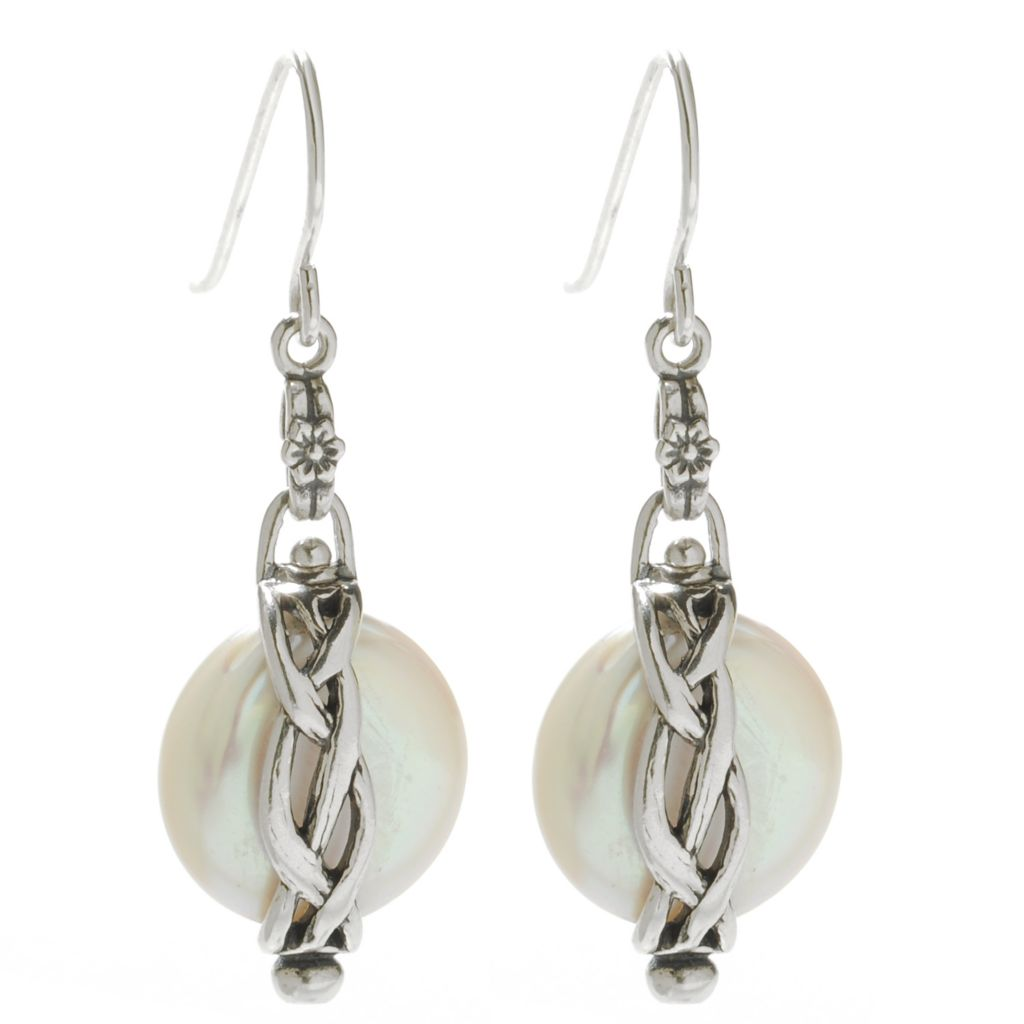 "138-428 - Passage to Israel Sterling Silver 13-14mm Freshwater Cultured Pearl 1.5"" Drop Earrings"