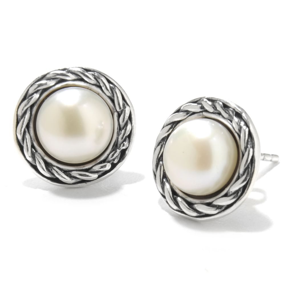 138-431 - Passage to Israel Sterling Silver 8mm Freshwater Cultured Pearl Stud Earrings