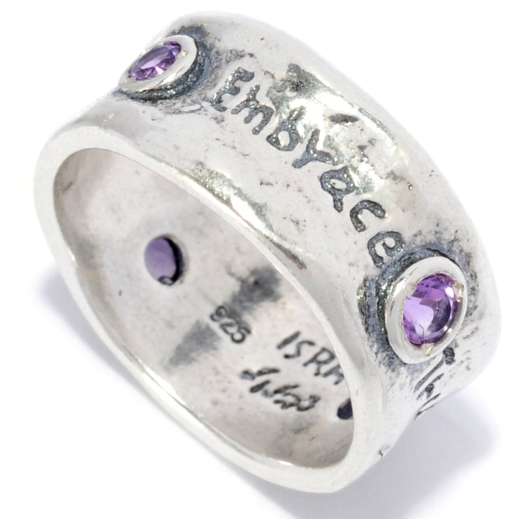 138-441 - Passage to Israel Sterling Silver Gemstone Inspirational Eternity Band Ring