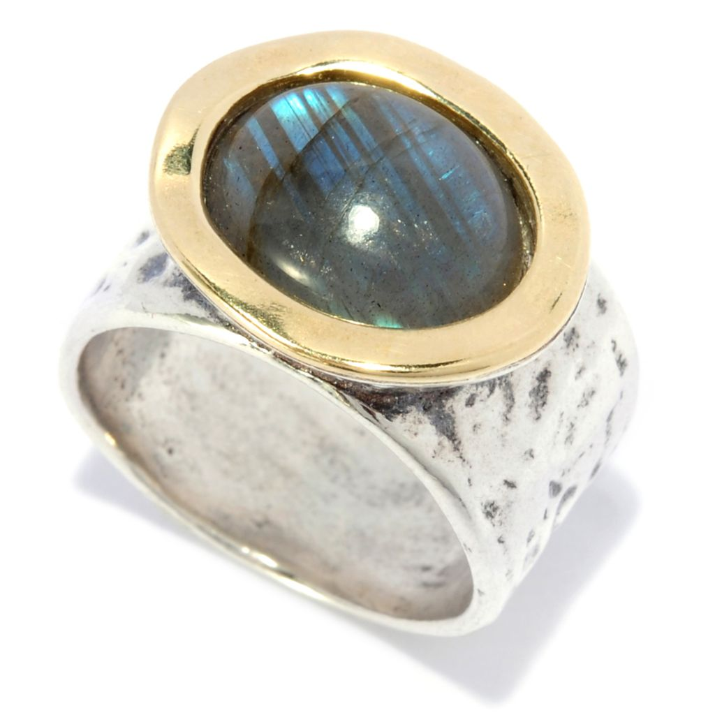 138-442 - Passage to Israel Sterling Silver & 14K Gold 12 x 10mm Labradorite Hammered Band Ring