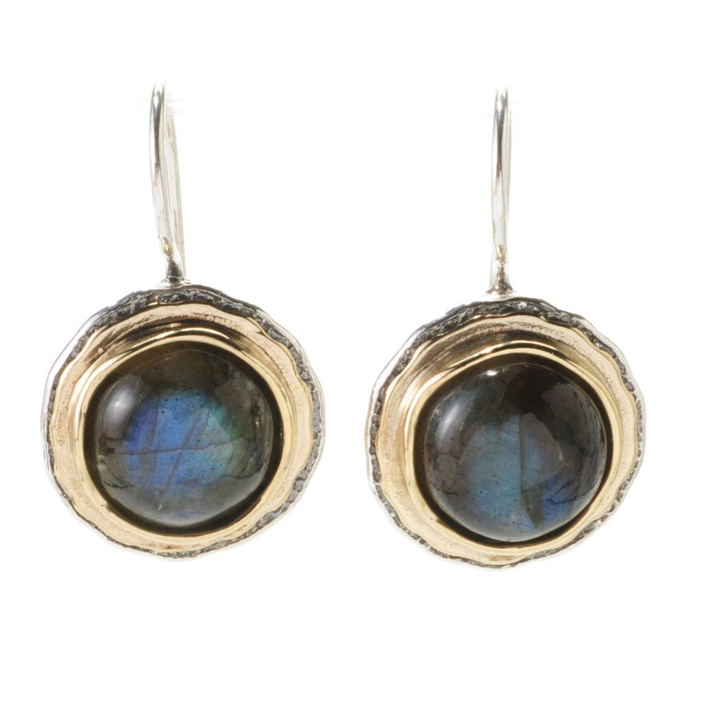 "138-443 - Passage to Israel Sterling Silver & 14K Gold 1"" 10mm Labradorite Cabochon Earrings"