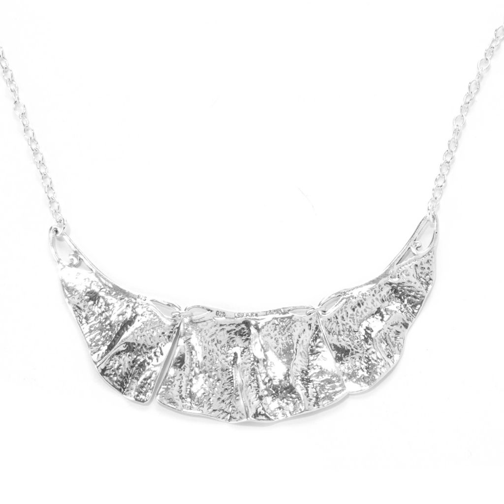 "138-444 - Passage to Israel Sterling Silver 18"" Three-Panel Bib Necklace, 23.3 grams"