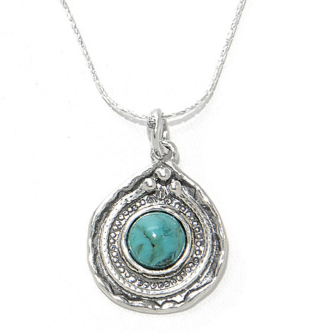 138-445 - Passage to Israel Sterling Silver 8mm Gemstone Hammered Teardrop Pendant w/ Chain