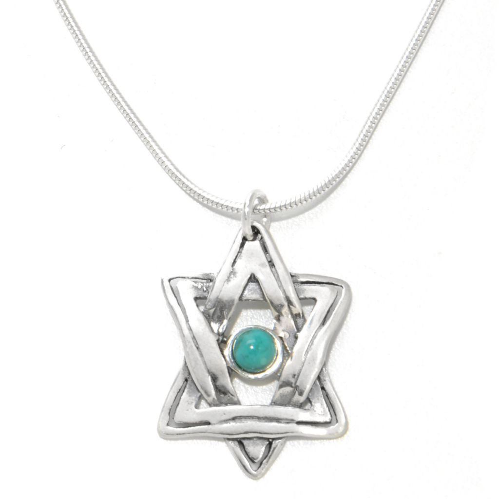 138-449 - Passage to Israel Sterling Silver 4mm Gemstone Star of David Pendant w/ Chain