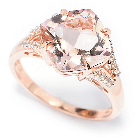 138-452 - Gem Treasures® 14K Rose Gold 3.44ctw Morganite & White Zircon Split Shank Ring