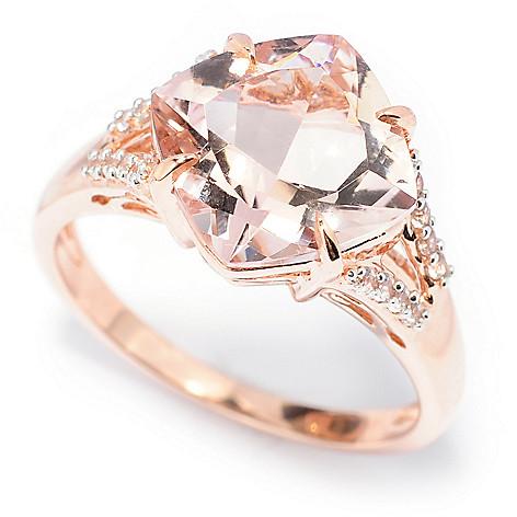 138-452 - Gem Treasures 14K Rose Gold 3.44ctw Morganite & White Zircon Split Shank Ring