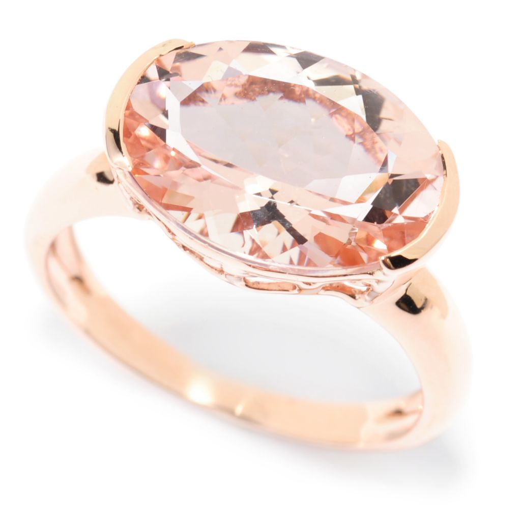 138-453 - Gem Treasures 14K Rose Gold 4.63ctw Oval Morganite East-West Ring