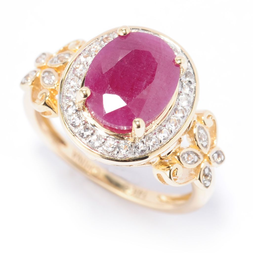 138-459 - Gem Treasures 14K Gold 10 x 8mm Oval Madurai Ruby & White Topaz Ring